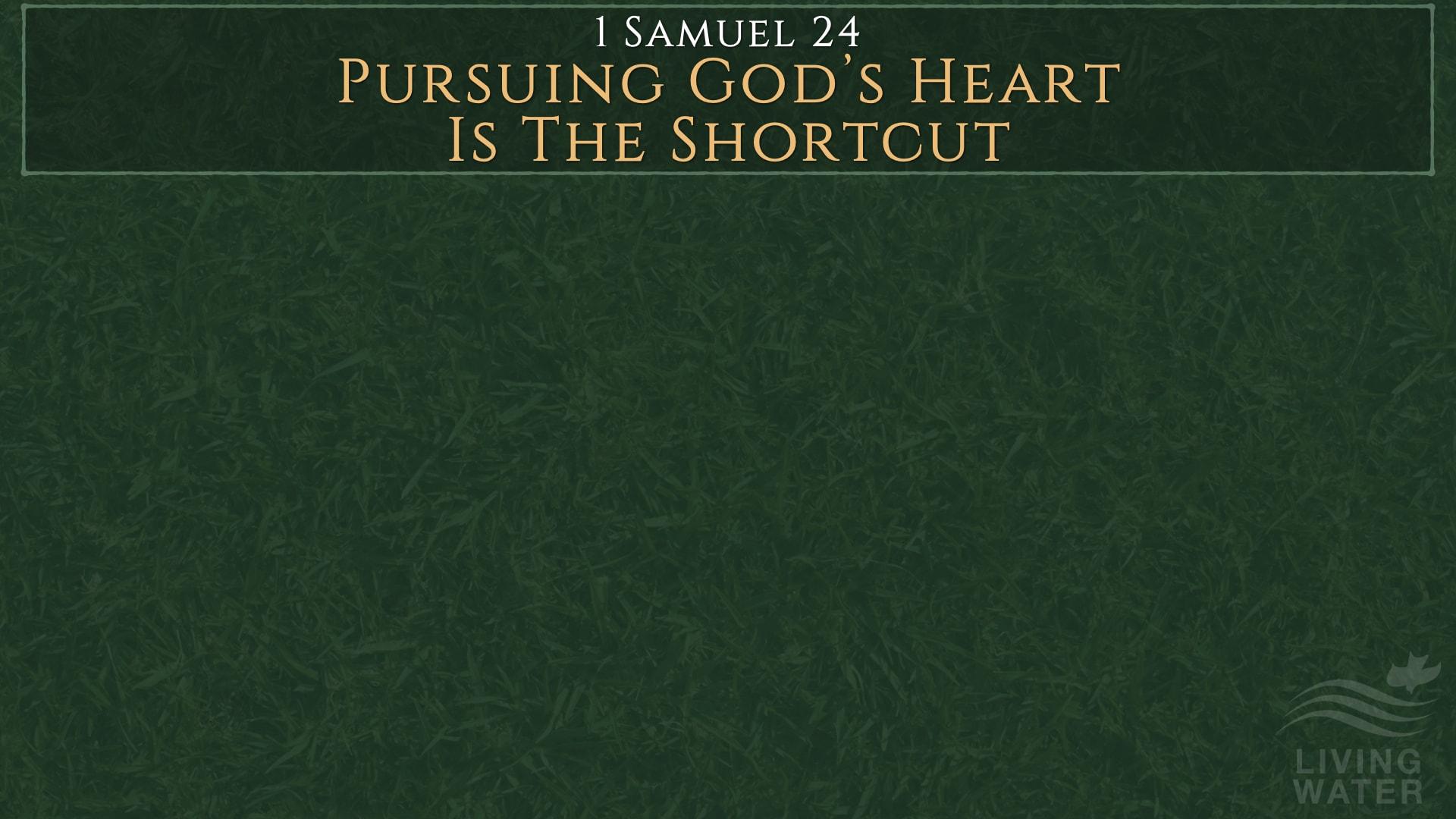 1 Samuel 24, Pursuing God's Heart Is The Shortcut