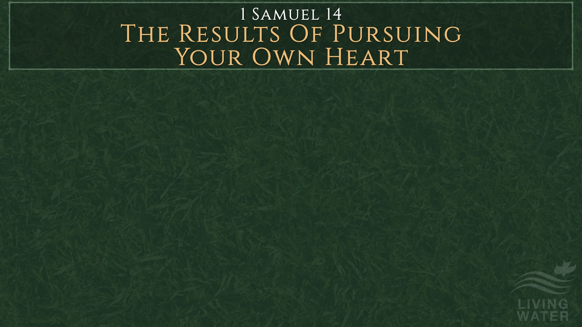 1 Samuel 14:24-52, The Results Of Pursuing Your Own Heart