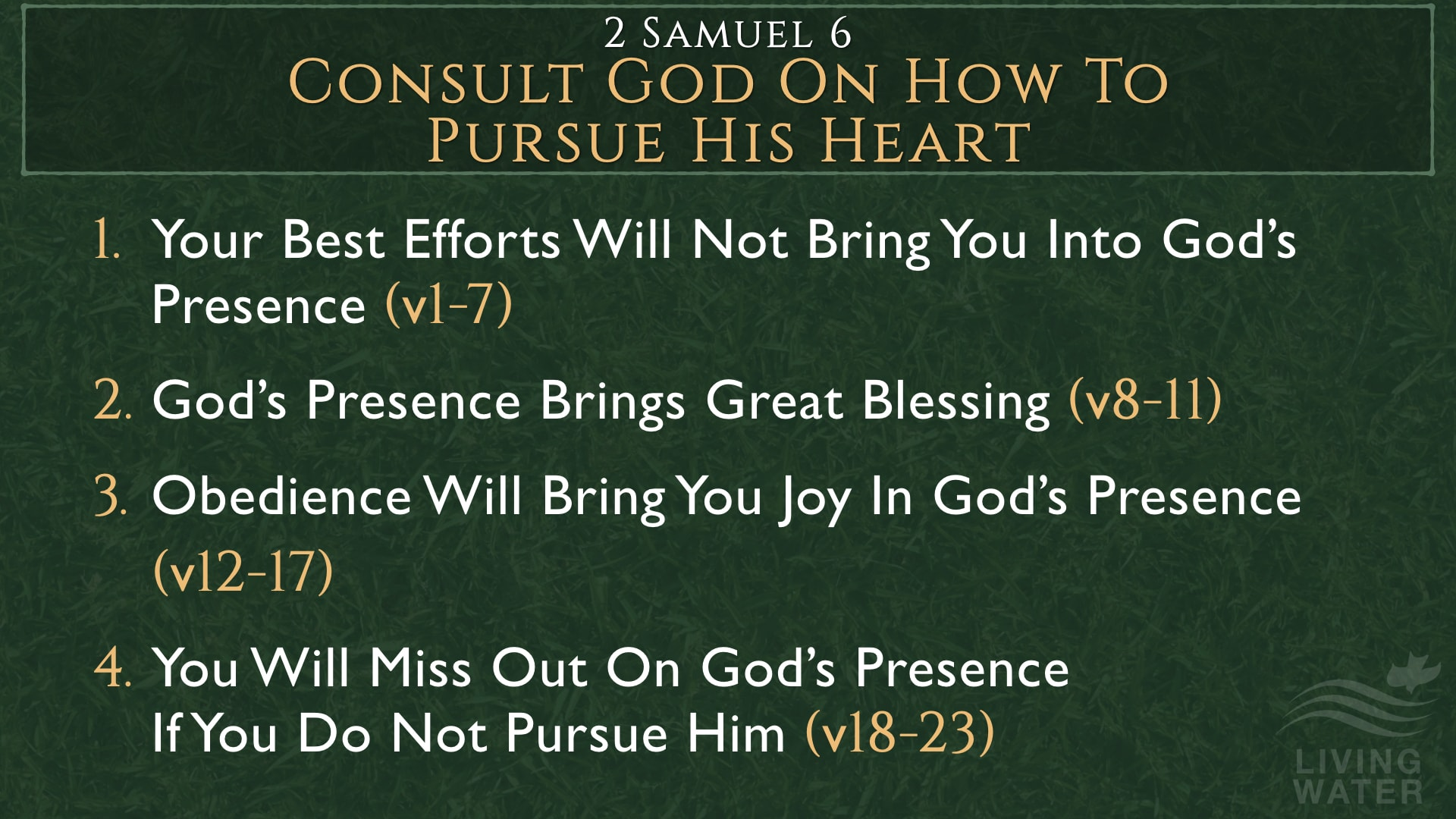 2 Samuel 6, Consult God On How To Pursue His Heart
