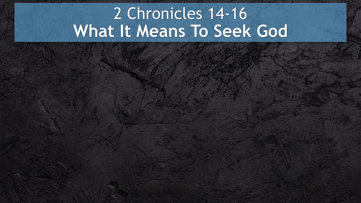 2 Chronicles 14-16, What It Means To Seek God