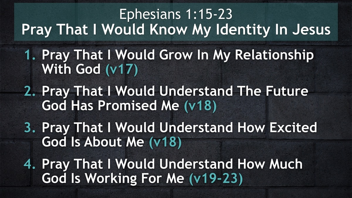 Ephesians 1:15-23, Pray That I Would Know My Identity In Jesus