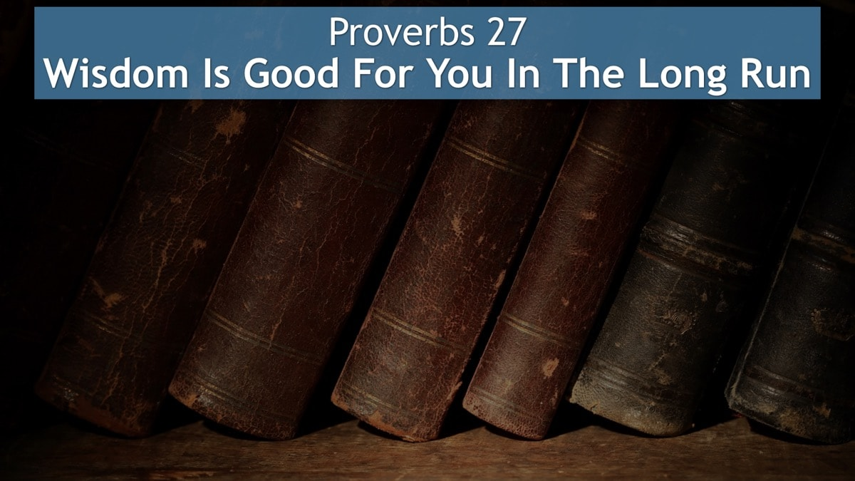 Proverbs 27, Wisdom Is Good For You In The Long Run