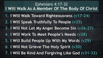 Ephesians 4, I Will Walk As A Member Of The Body Of Christ