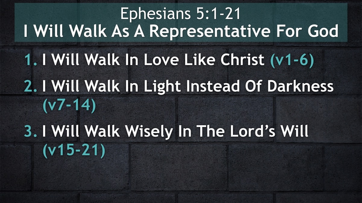 Ephesians 5:1-21, I Will Walk As A Representative For God