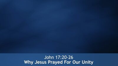 John 17:20-26, Why Jesus Prayed For Our Unity